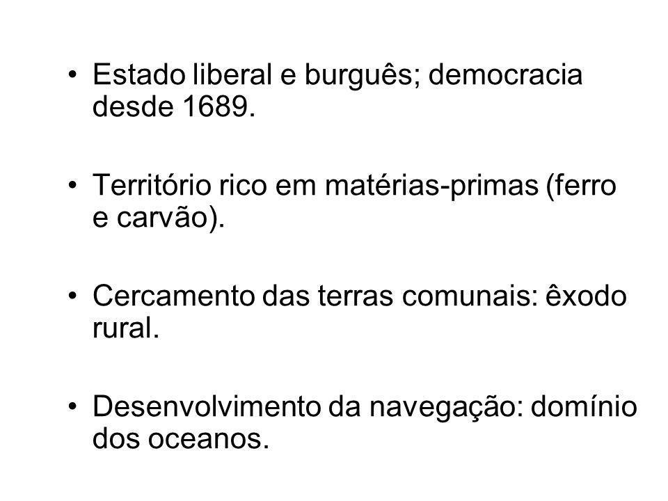 Estado liberal e burguês; democracia desde 1689.