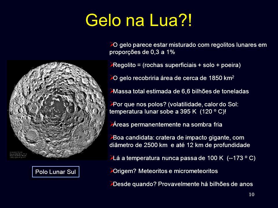 Gelo na Lua ! O gelo parece estar misturado com regolitos lunares em proporções de 0,3 a 1% Regolito = (rochas superficiais + solo + poeira)