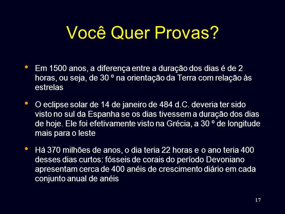 Você Quer Provas Em 1500 anos, a diferença entre a duração dos dias é de 2 horas, ou seja, de 30 º na orientação da Terra com relação às estrelas.