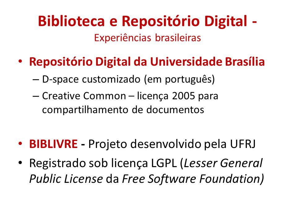 Biblioteca e Repositório Digital -Experiências brasileiras