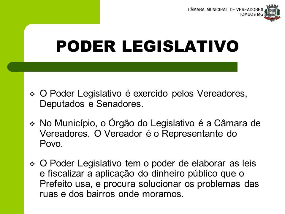 PODER LEGISLATIVO O Poder Legislativo é exercido pelos Vereadores, Deputados e Senadores.