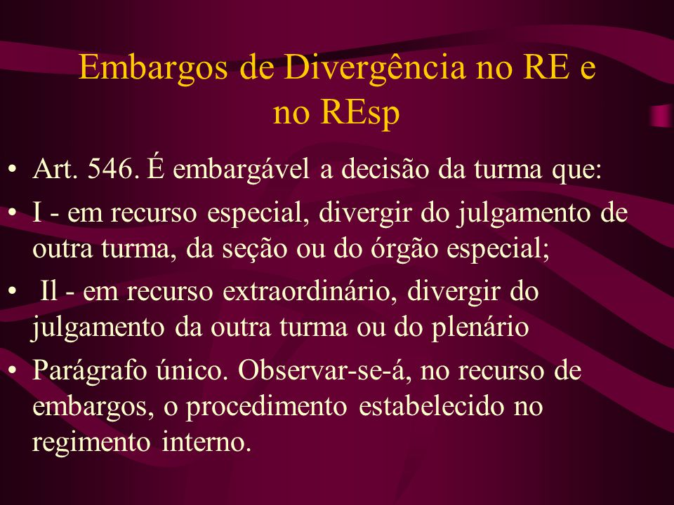Embargos de Divergência no RE e no REsp