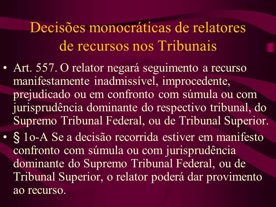 Decisões monocráticas de relatores de recursos nos Tribunais