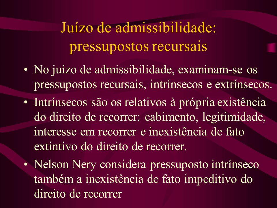 Juízo de admissibilidade: pressupostos recursais