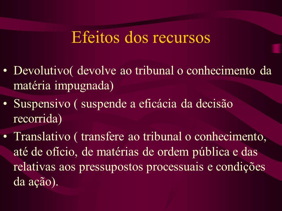 Efeitos dos recursos Devolutivo( devolve ao tribunal o conhecimento da matéria impugnada) Suspensivo ( suspende a eficácia da decisão recorrida)