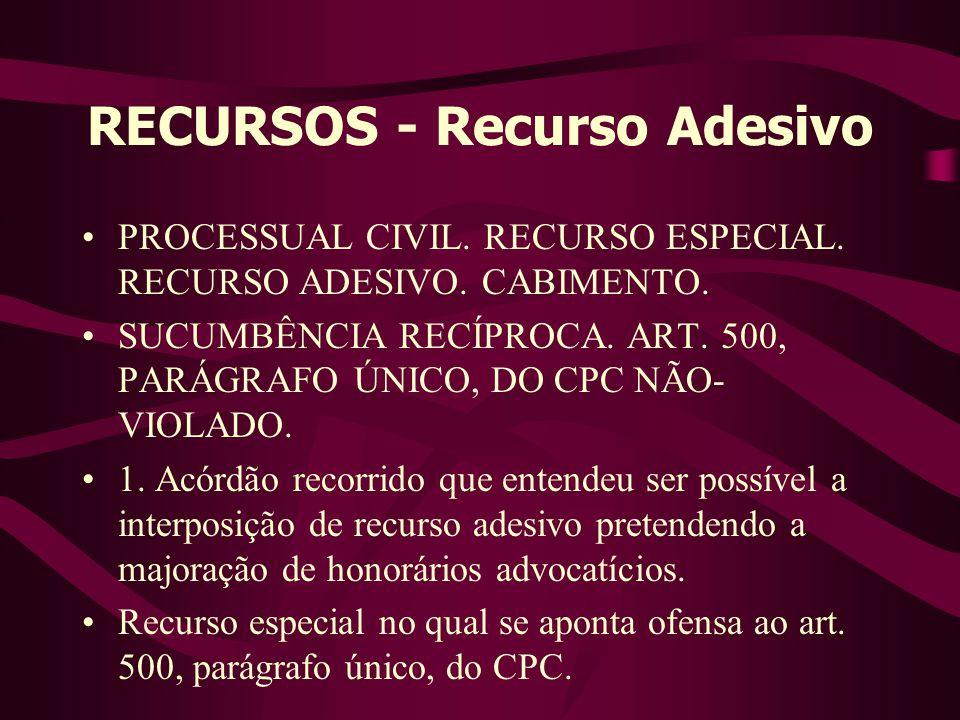 RECURSOS - Recurso Adesivo