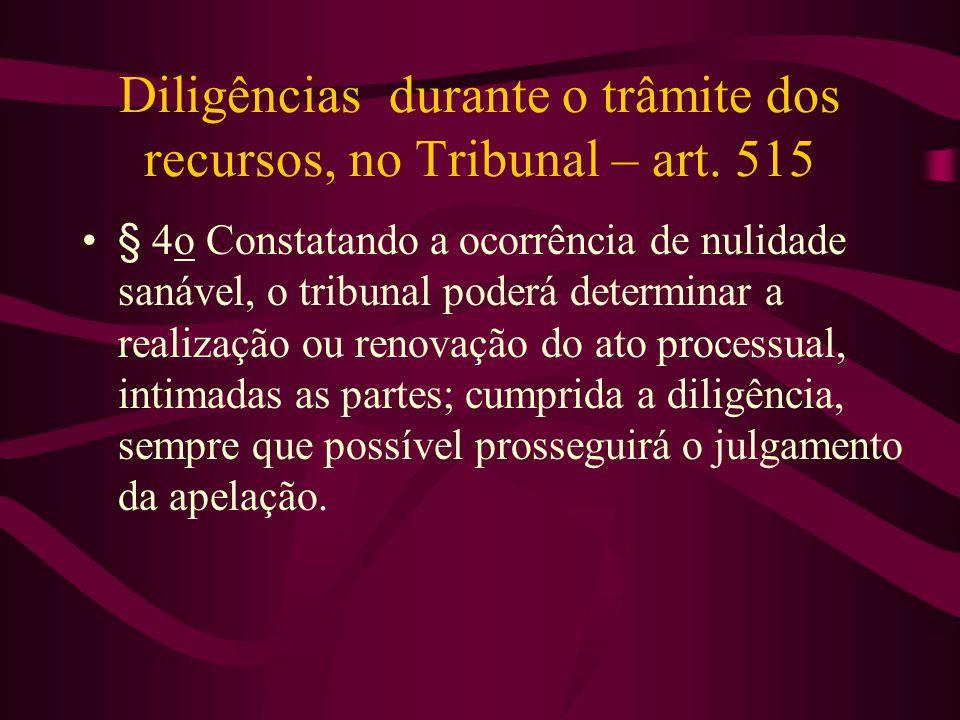Diligências durante o trâmite dos recursos, no Tribunal – art. 515