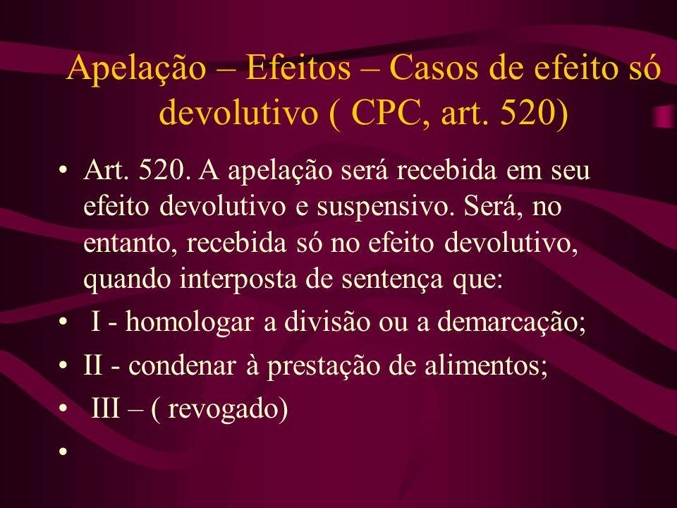 Apelação – Efeitos – Casos de efeito só devolutivo ( CPC, art. 520)