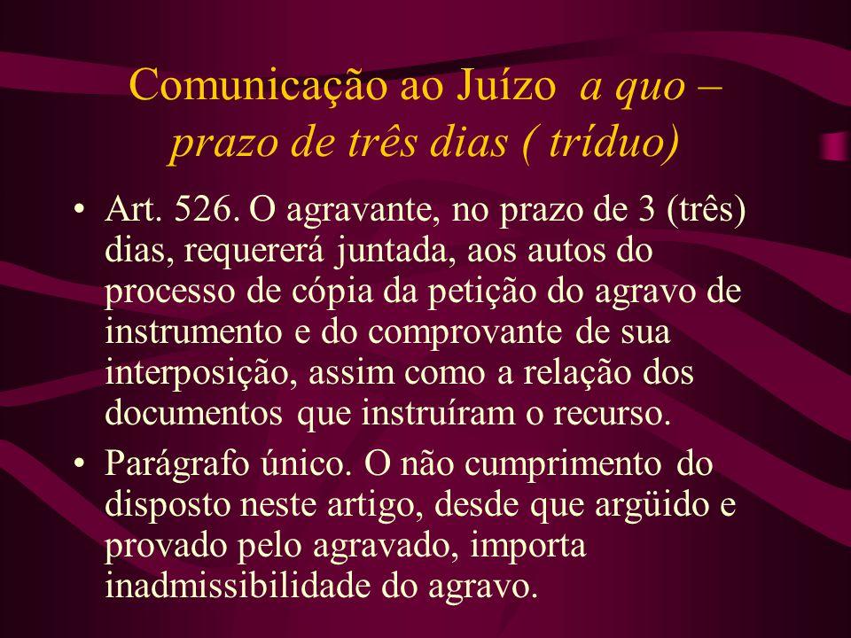 Comunicação ao Juízo a quo – prazo de três dias ( tríduo)