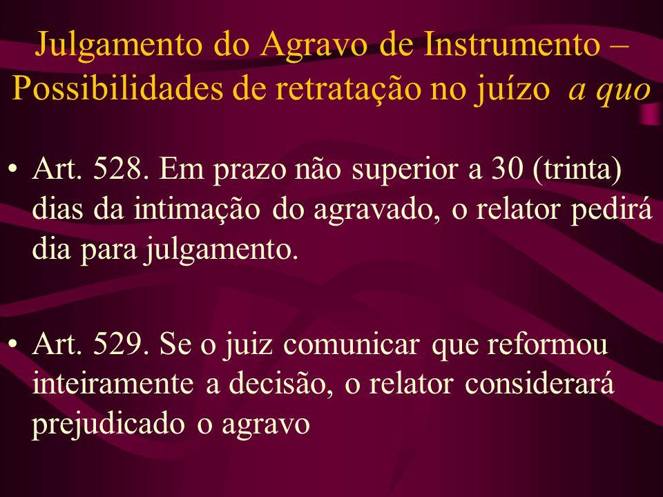 Julgamento do Agravo de Instrumento – Possibilidades de retratação no juízo a quo
