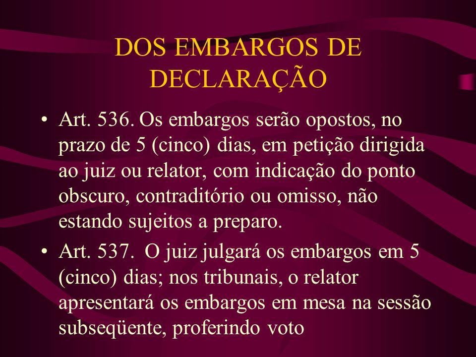 DOS EMBARGOS DE DECLARAÇÃO