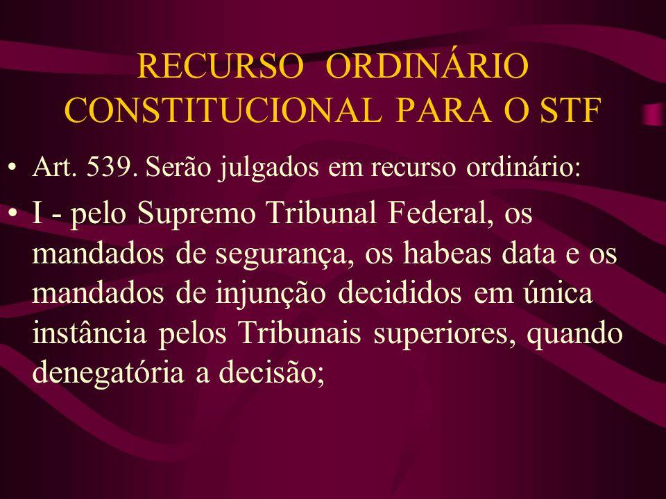 RECURSO ORDINÁRIO CONSTITUCIONAL PARA O STF