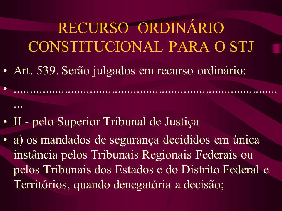 RECURSO ORDINÁRIO CONSTITUCIONAL PARA O STJ