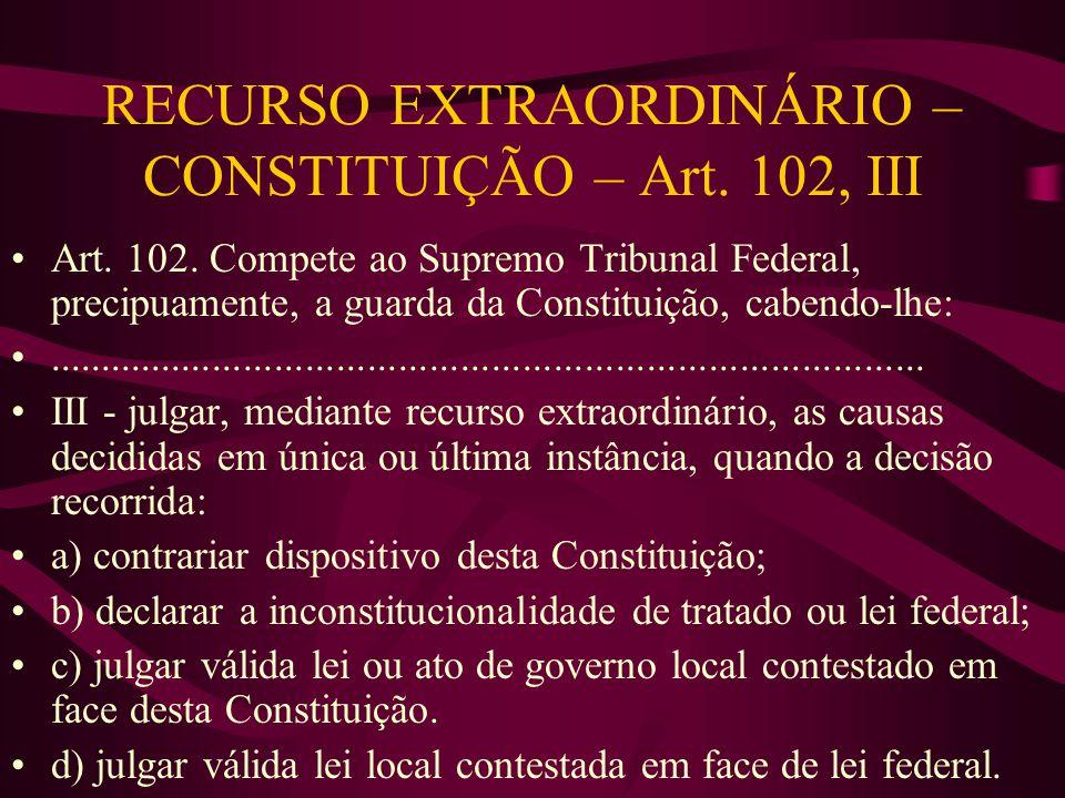 RECURSO EXTRAORDINÁRIO – CONSTITUIÇÃO – Art. 102, III