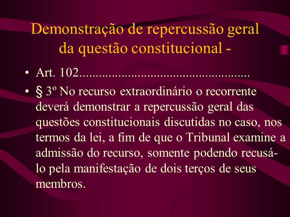 Demonstração de repercussão geral da questão constitucional -