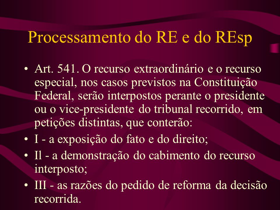 Processamento do RE e do REsp