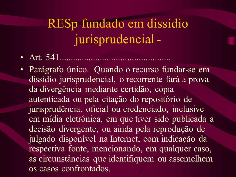RESp fundado em dissídio jurisprudencial -