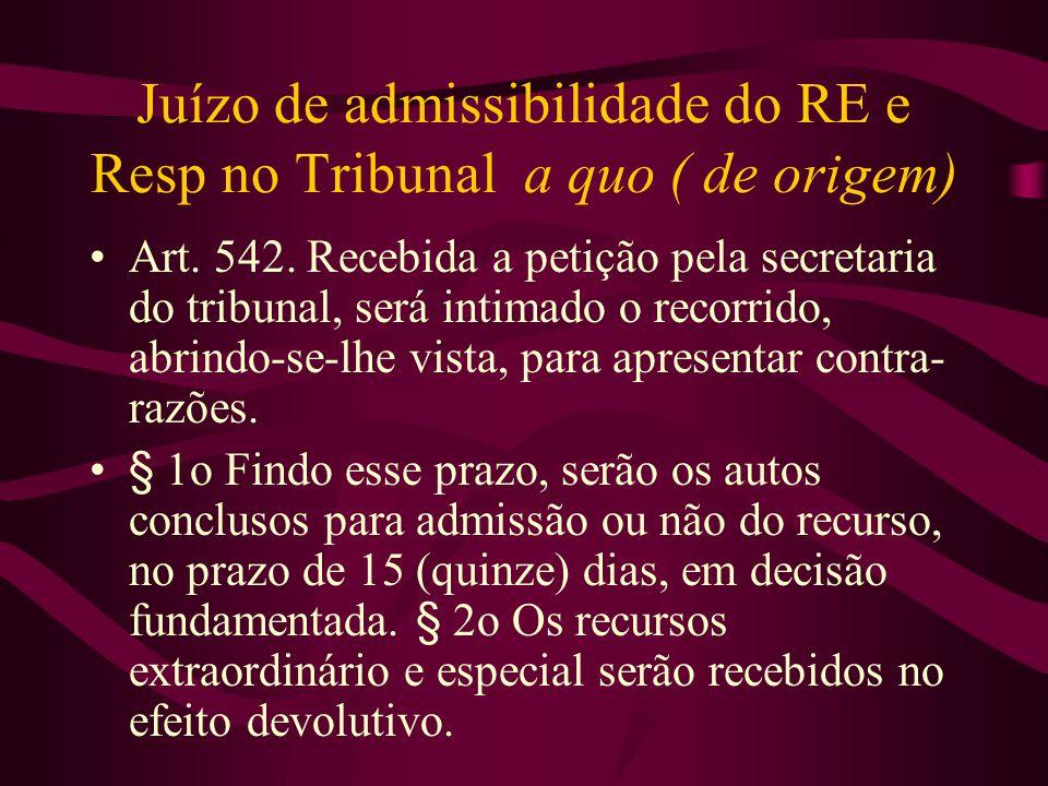 Juízo de admissibilidade do RE e Resp no Tribunal a quo ( de origem)