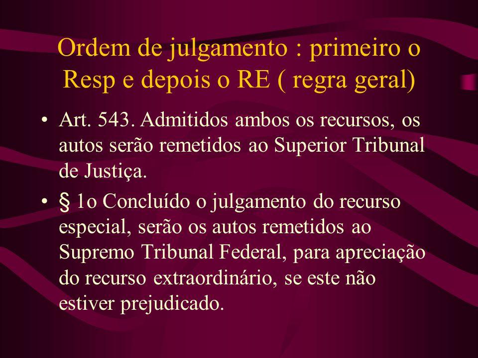 Ordem de julgamento : primeiro o Resp e depois o RE ( regra geral)