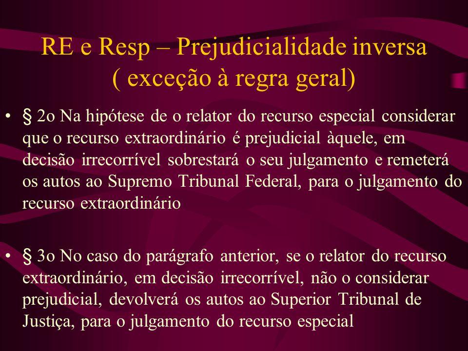RE e Resp – Prejudicialidade inversa ( exceção à regra geral)