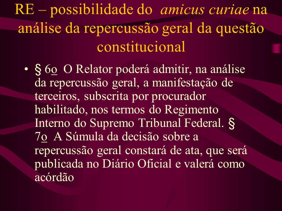 RE – possibilidade do amicus curiae na análise da repercussão geral da questão constitucional