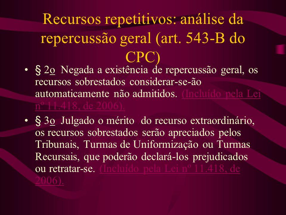 Recursos repetitivos: análise da repercussão geral (art. 543-B do CPC)