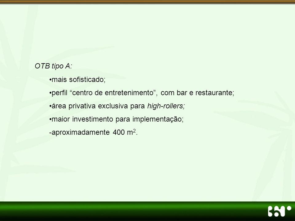 OTB tipo A: mais sofisticado; perfil centro de entretenimento , com bar e restaurante; área privativa exclusiva para high-rollers;
