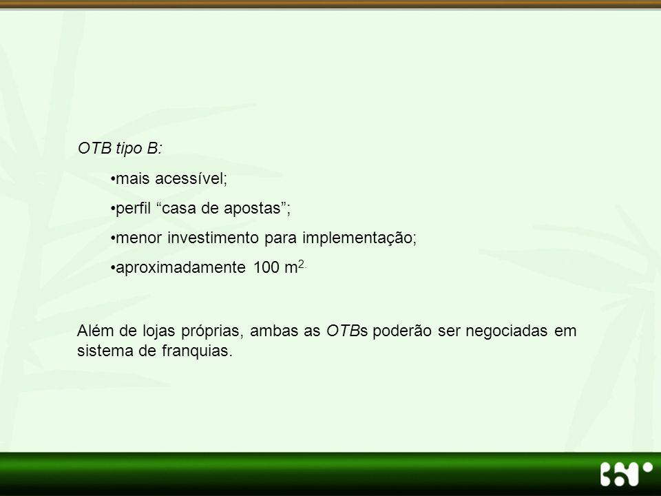 OTB tipo B: mais acessível; perfil casa de apostas ; menor investimento para implementação; aproximadamente 100 m2.