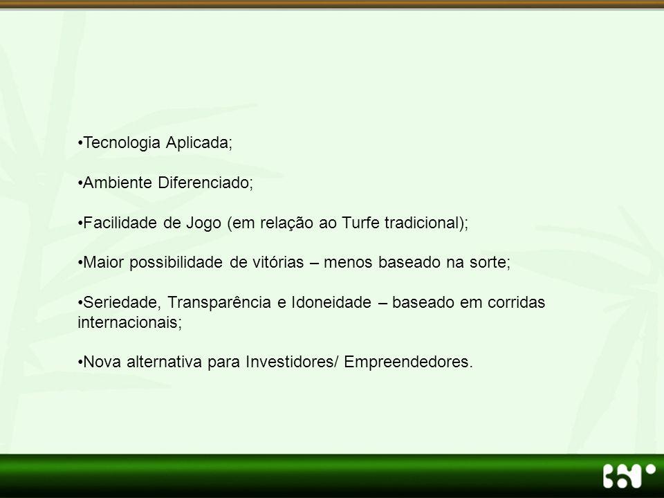 Tecnologia Aplicada; Ambiente Diferenciado; Facilidade de Jogo (em relação ao Turfe tradicional);