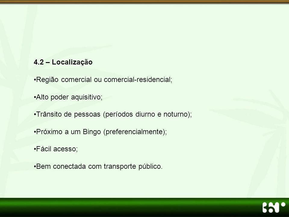 4.2 – Localização Região comercial ou comercial-residencial; Alto poder aquisitivo; Trânsito de pessoas (períodos diurno e noturno);
