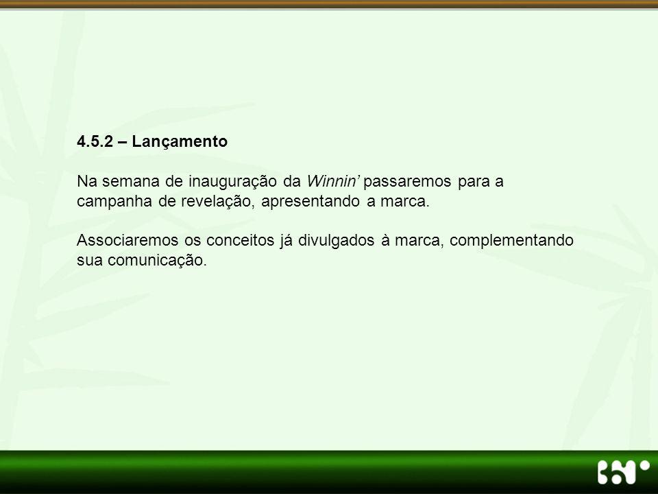 4.5.2 – Lançamento Na semana de inauguração da Winnin' passaremos para a campanha de revelação, apresentando a marca.