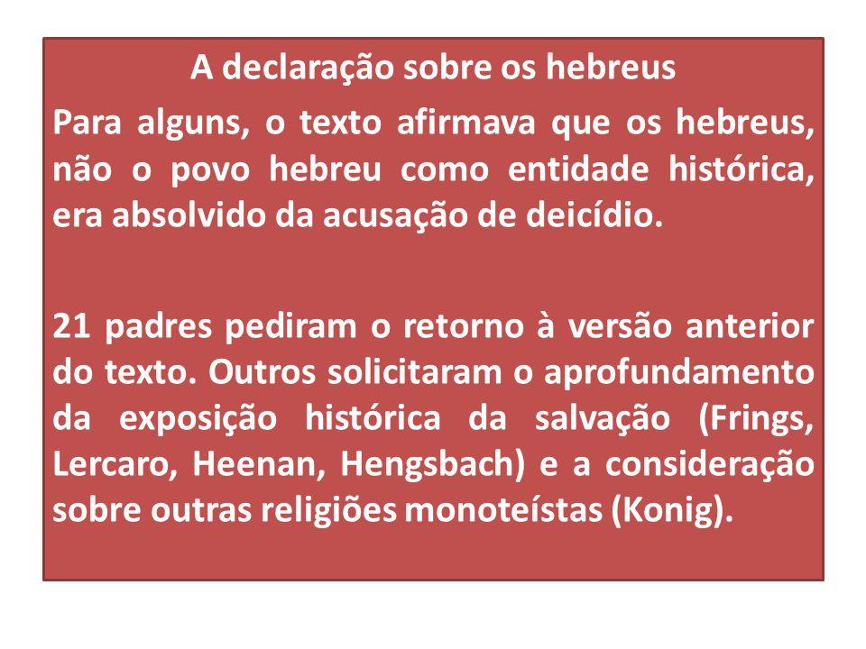 A declaração sobre os hebreus Para alguns, o texto afirmava que os hebreus, não o povo hebreu como entidade histórica, era absolvido da acusação de deicídio.
