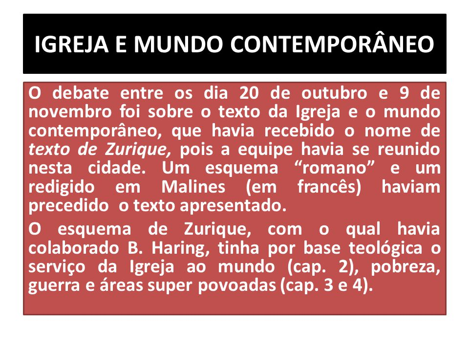 IGREJA E MUNDO CONTEMPORÂNEO