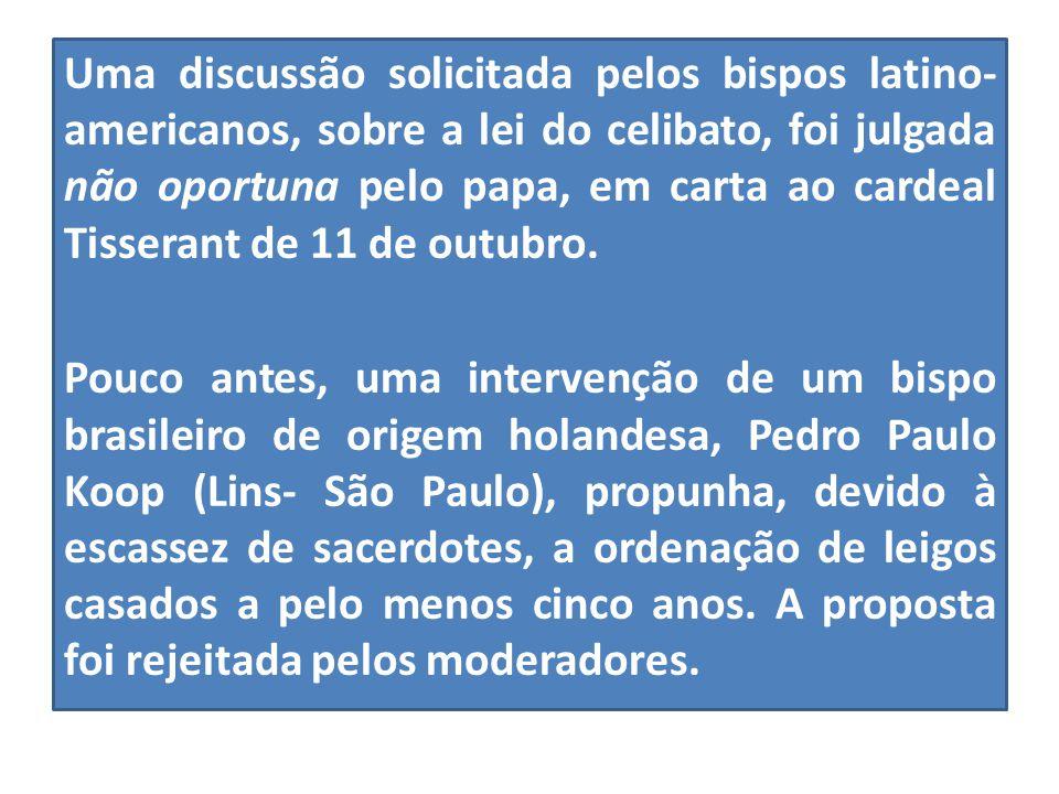 Uma discussão solicitada pelos bispos latino-americanos, sobre a lei do celibato, foi julgada não oportuna pelo papa, em carta ao cardeal Tisserant de 11 de outubro.