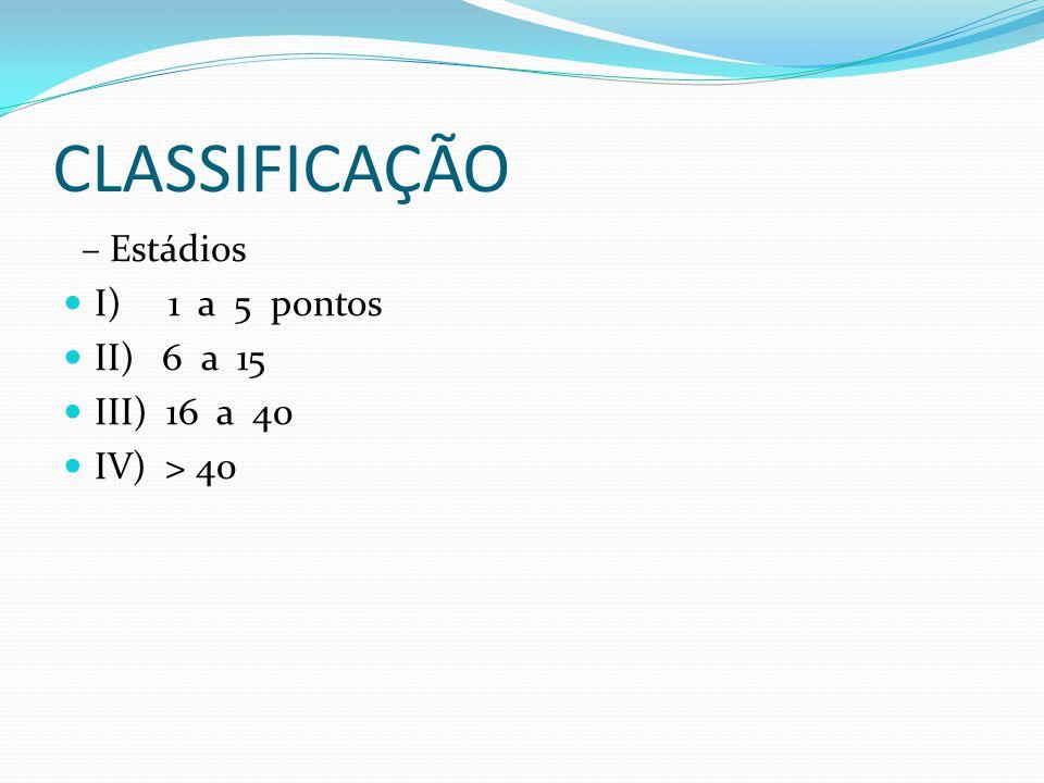 CLASSIFICAÇÃO – Estádios I) 1 a 5 pontos II) 6 a 15 III) 16 a 40