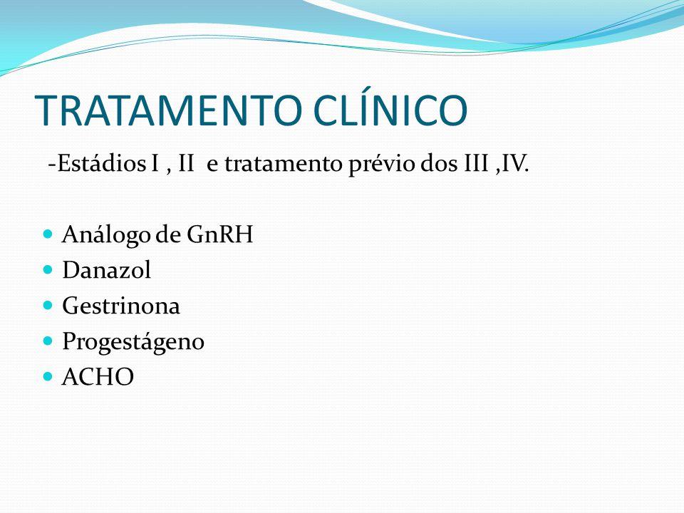 TRATAMENTO CLÍNICO -Estádios I , II e tratamento prévio dos III ,IV.