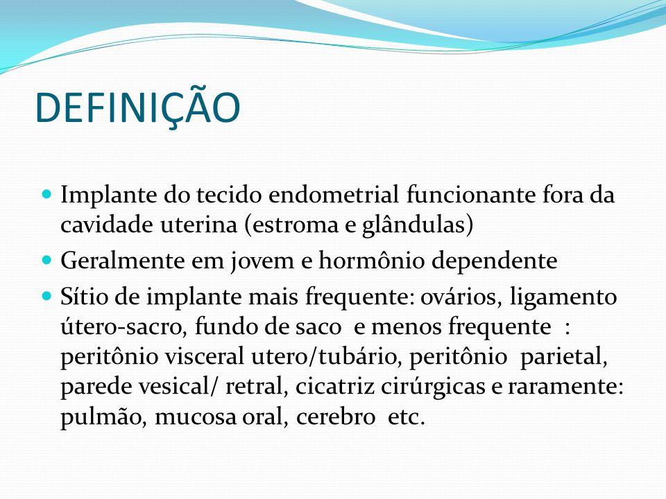 DEFINIÇÃO Implante do tecido endometrial funcionante fora da cavidade uterina (estroma e glândulas)