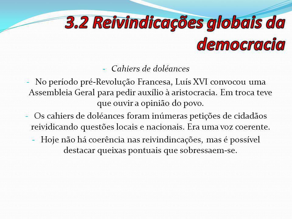 3.2 Reivindicações globais da democracia