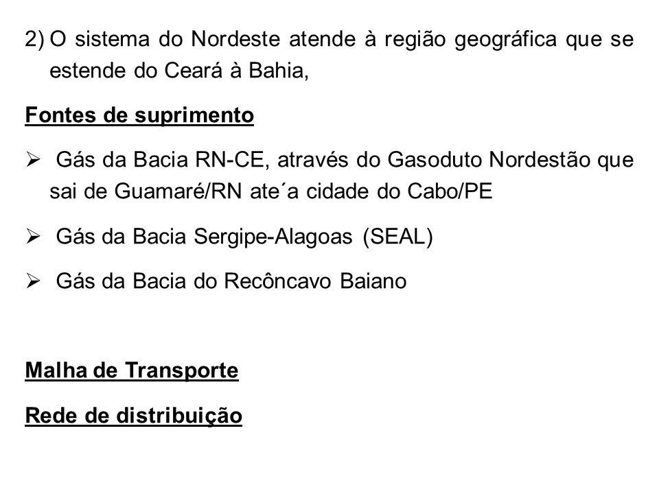 O sistema do Nordeste atende à região geográfica que se estende do Ceará à Bahia,