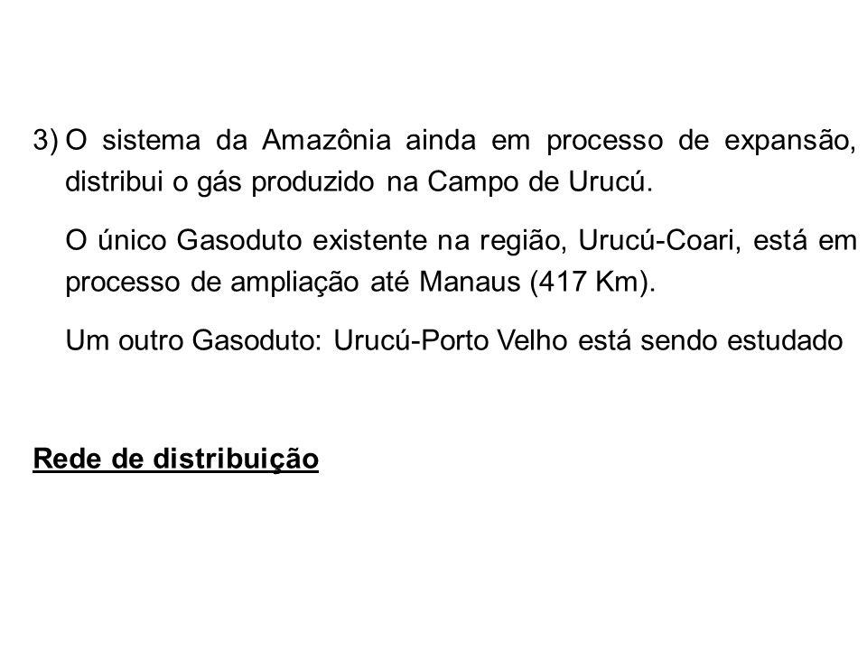 O sistema da Amazônia ainda em processo de expansão, distribui o gás produzido na Campo de Urucú.