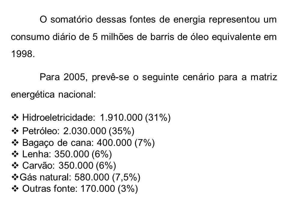 O somatório dessas fontes de energia representou um consumo diário de 5 milhões de barris de óleo equivalente em 1998.