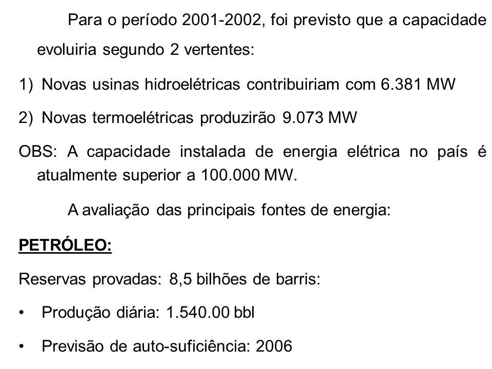 Para o período 2001-2002, foi previsto que a capacidade evoluiria segundo 2 vertentes: