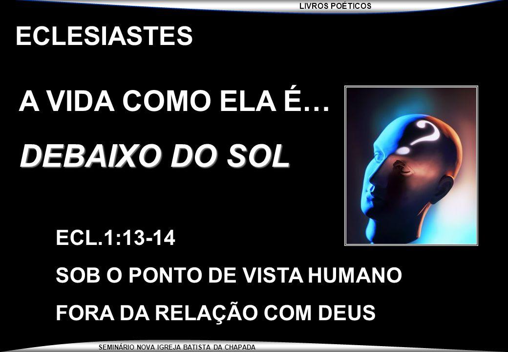 DEBAIXO DO SOL A VIDA COMO ELA É… ECLESIASTES ECL.1:13-14