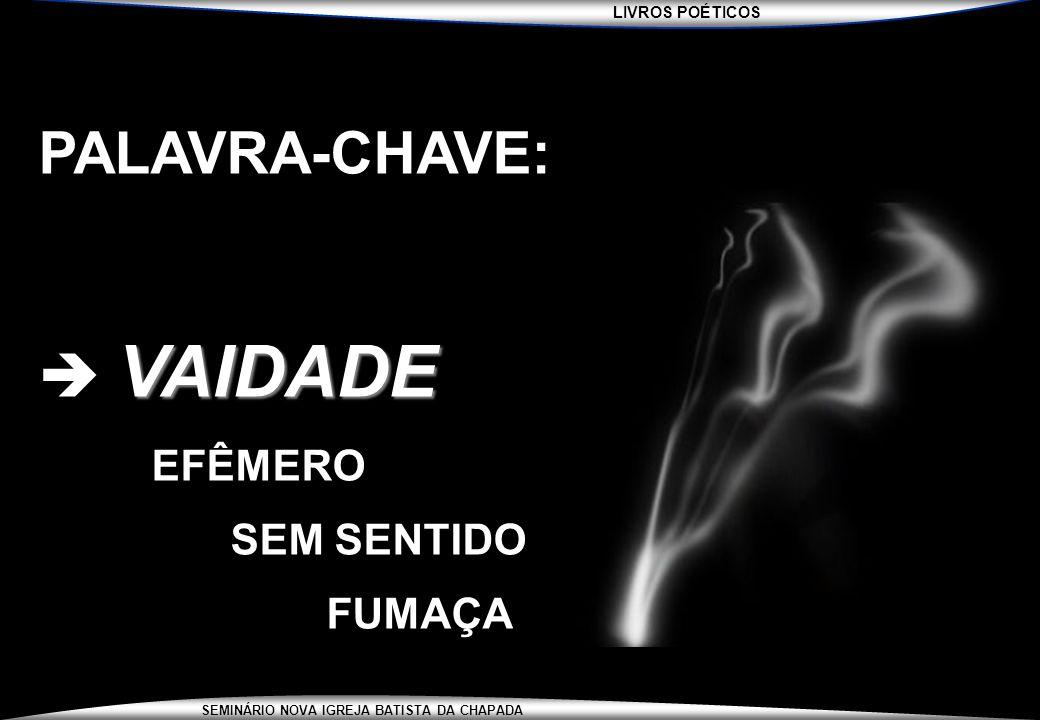 PALAVRA-CHAVE:  VAIDADE EFÊMERO SEM SENTIDO FUMAÇA
