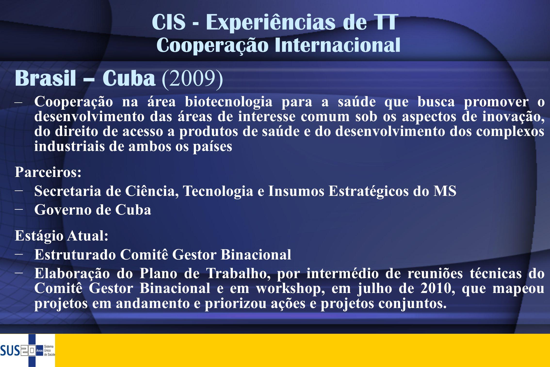 CIS - Experiências de TT Cooperação Internacional