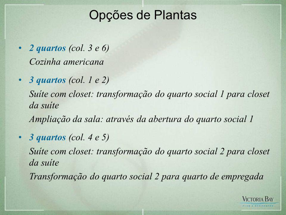 Opções de Plantas 2 quartos (col. 3 e 6) Cozinha americana