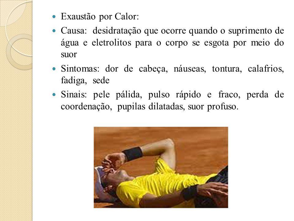 Exaustão por Calor: Causa: desidratação que ocorre quando o suprimento de água e eletrolitos para o corpo se esgota por meio do suor.