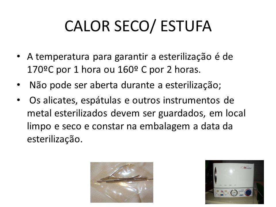CALOR SECO/ ESTUFA A temperatura para garantir a esterilização é de 170ºC por 1 hora ou 160º C por 2 horas.