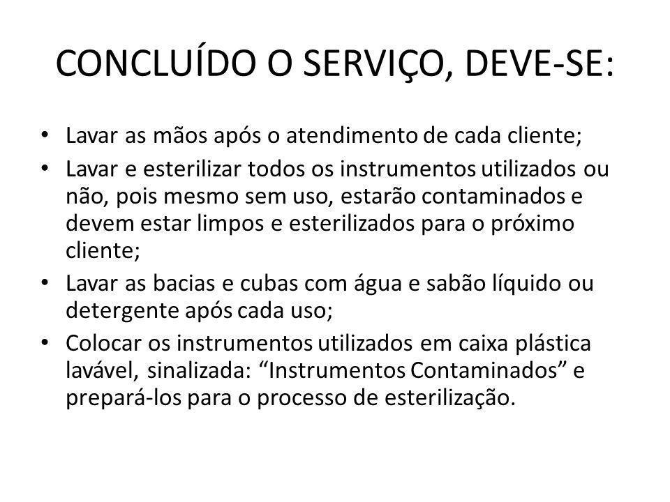 CONCLUÍDO O SERVIÇO, DEVE-SE: