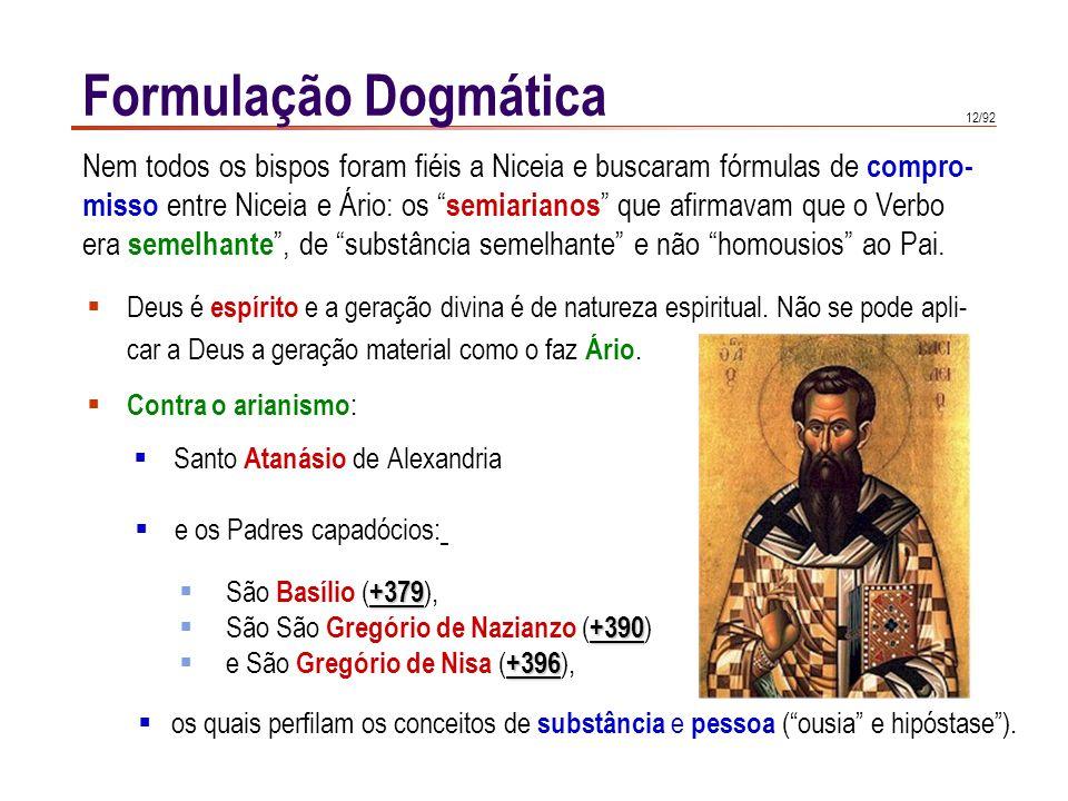 Formulação Dogmática Nem todos os bispos foram fiéis a Niceia e buscaram fórmulas de compro-